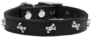 Bone Leather Dog Collar Black 10